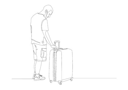 One continuous line drawing of standing  traveler with baggage, immigrant with luggage.