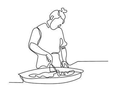One continuous line drawing of chef prepares food in the kitchen.