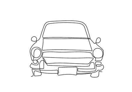 One single continuous line drawing of old vintage car, line draw design illustration.
