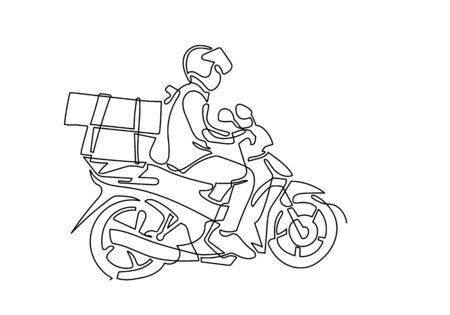 one continuous line of Delivery Man Ride Motorcycle illustration Illustration