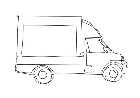 continuous one line Illustration of Fast delivery truck, lorry minimalistic sketch.