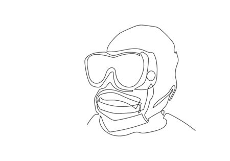 One continuous line art of professional medical doctor wearing face mask or medical to protect from coronavirus, Illustration COVID-19 symbol