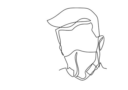 One continuous line drawing  medical face mask. Concept of corona virus.