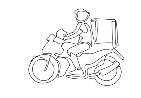 one continuous line of Delivery Man Ride Motorcycle illustration.