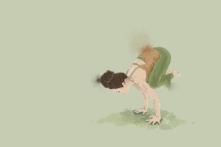 woman balancing in  bagasana yoga illustration  isolated on green  background with copy space. Stock Photo