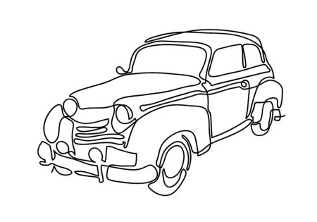 Continuous line draw design illustration or One single line of old retro vintage auto Classic car. vehicle concept.