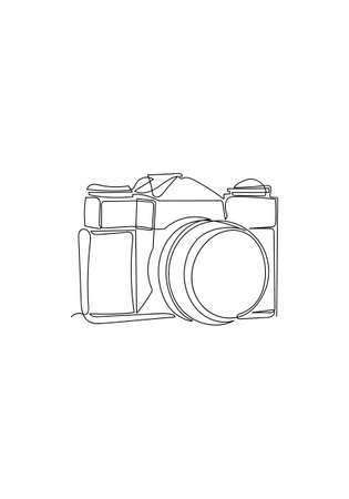 Hand drawn One line drawing of camera linear style. Minimalism style illustration, Black image isolated on white background.