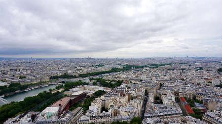 Panoramic aerial view of Paris, France photo