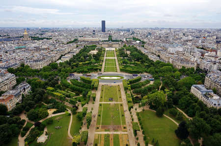 champ: Aerial view of the Champ de Mars in Paris, France