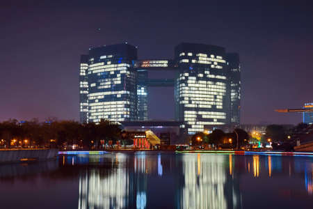 civic center: Hangzhou Civic Center Night Editorial