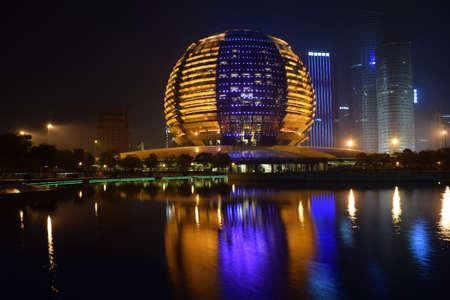 intercontinental: Intercontinental Hotel Hangzhou CBD Night Editorial