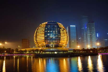 intercontinental: Intercontinental Hotel Hangzhou CBD Night Editorial