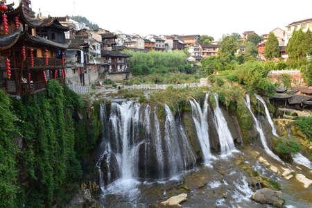 wen: Hibiscus Town Wangcun Falls Stock Photo