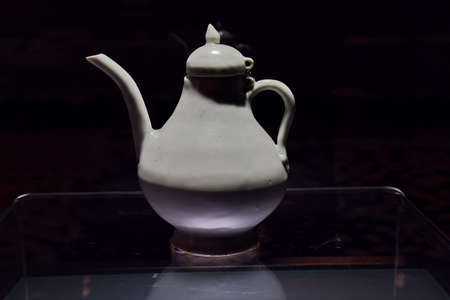 an era: Zheng He era white shaft pear pot Editorial