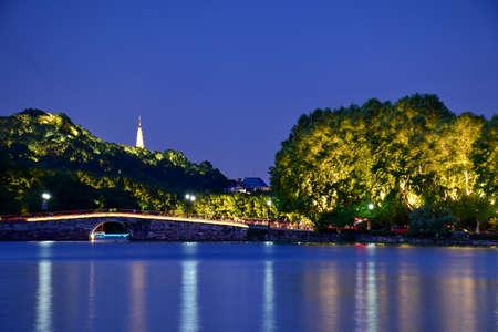 nightview: Nightview of West Lake in Hangzhou Baoshu tower