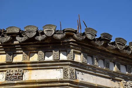 stone carving: Stone carving of roof