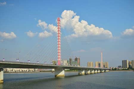 xing: Three of the Qiantang River West Bridge panorama Editorial