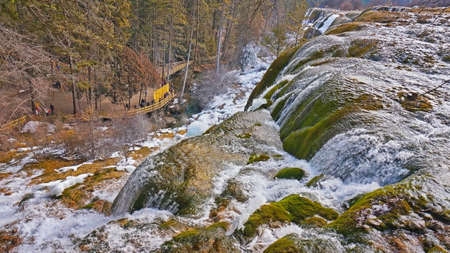 sierra snow: Close view of a waterfall