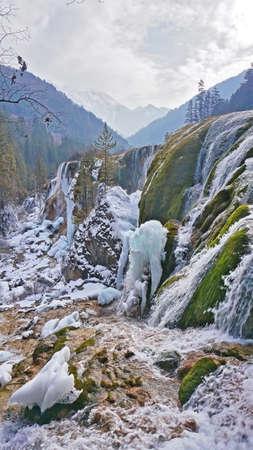 sierra snow: Jiuzhaigou Pearl Beach waterfall view Stock Photo