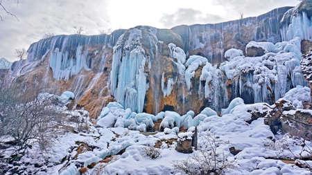 sierra snow: Jiuzhaigou Pearl Beach falls in winter ice