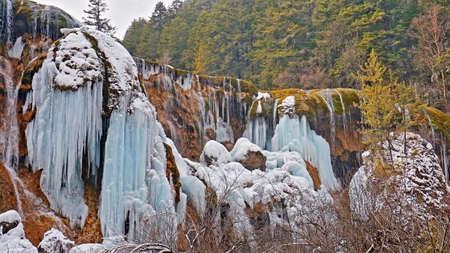 sopel lodu: Jiuzhaigou Pearl Beach Wodospad sopel Zdjęcie Seryjne