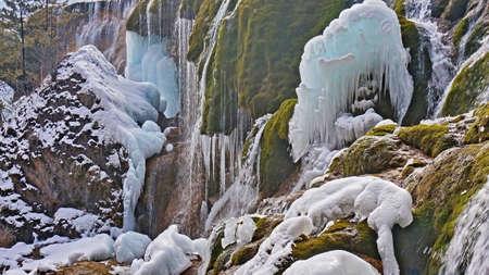 sierra snow: Jiuzhaigou Pearl Beach in winter falls