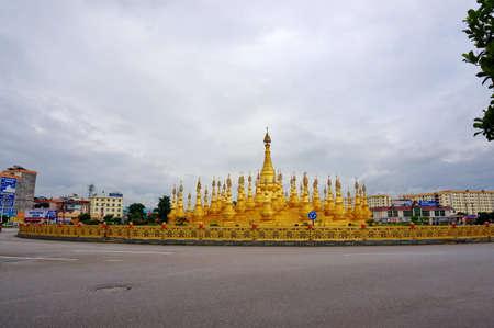 stupas: Yunnan mangshi smaller stupas around the island group