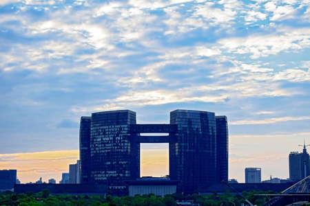 civic center: Qianjiang Civic Center at dusk Editorial
