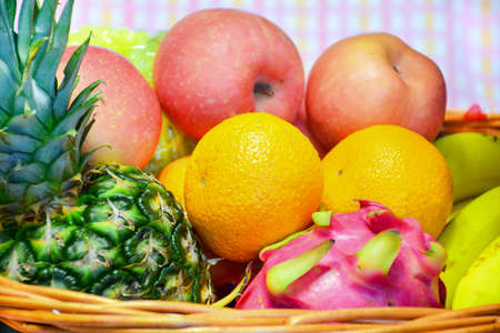 basket: A basket of fruits Stock Photo