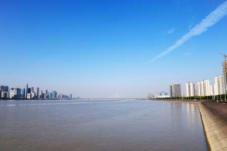both sides: On both sides of the Qiantang river scenery