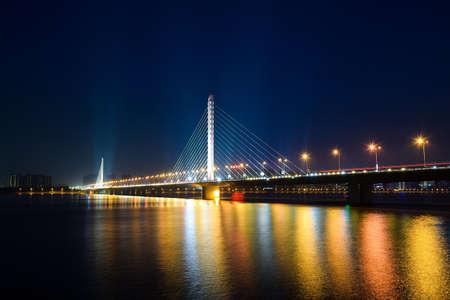 bridge: Qianjiangsanqiao panoramic night view