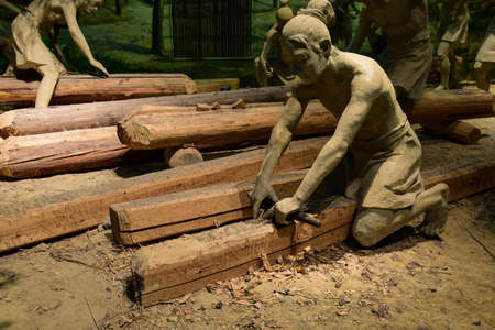 Liangzhu culture of primitive life woodworking