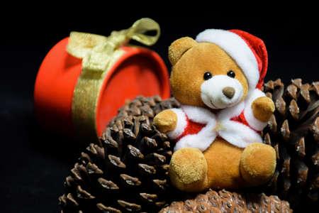 festive pine cones: Christmas bear Stock Photo