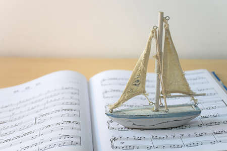 sheet music: boat on music sheet