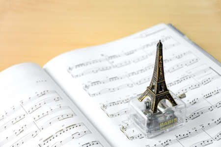 sheet music: eiffel tower music box on music sheet