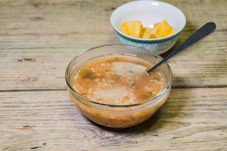 curd: fermented bean curd and mung bean congee Stock Photo