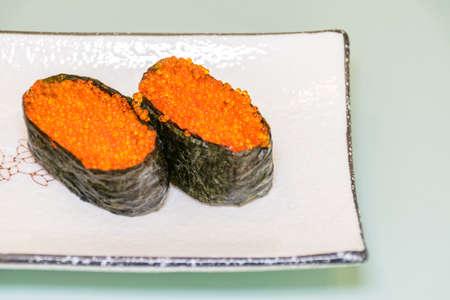 Crab roe sushi