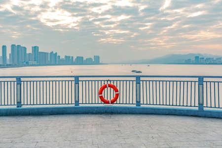tang: Hangzhou Qian Tang river sunset scenic