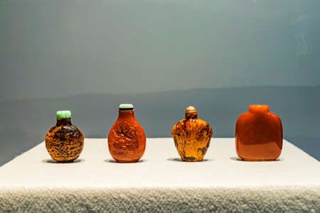 museum visit: Beeswax snuff bottle Editorial