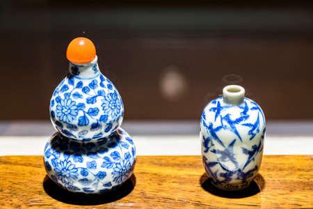 rape: La botella de rapé de porcelana azul y blanca