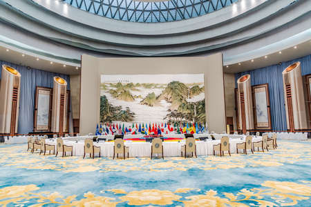 g20: The main venue of the G20 lunch Hall Editorial
