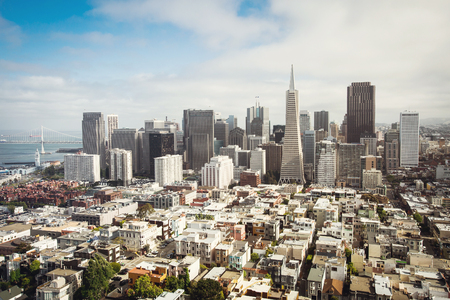 transamerica: Spectacular aerial panorama of San Francisco Financial District made from the top floor of Coit tower on sunny day, California, USA