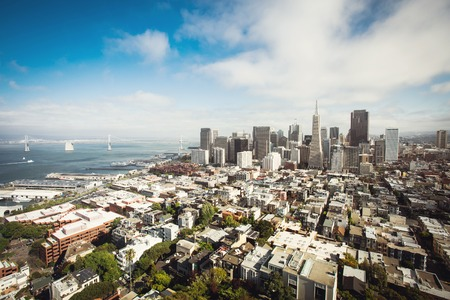 coit: Spectacular aerial panorama of San Francisco Financial District made from the top floor of Coit tower on sunny day, California, USA