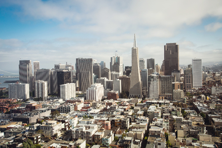 san: Spectacular aerial panorama of San Francisco Financial District made from the top floor of Coit tower on sunny day, California, USA