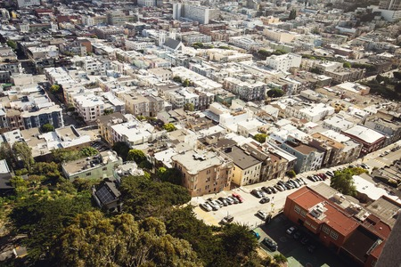 coit tower: Spectacular aerial panorama of San Francisco Financial District made from the top floor of Coit tower on sunny day, California, USA