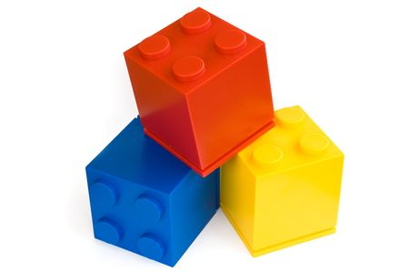 toy blocks: colorful cubes on white background Stock Photo