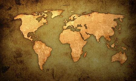 geografia: ilustraciones de la mapa-vendimia del mundo Foto de archivo