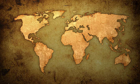 vintage world map: world map-vintage artwork Stock Photo