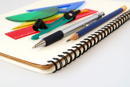 Notepad,pen, ruler and setsquare Stock Photo - 773921