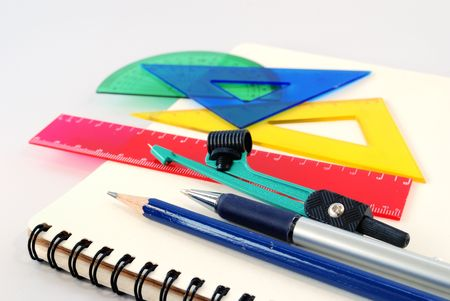 Notepad,pen, ruler and setsquare Stock Photo - 773920
